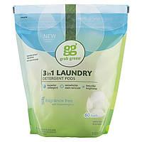 Стиральный порошок 3-в-1, без запаха, (3-in-1 Laundry Detergent, Fragrance Free), GrabGreen, 1080 г