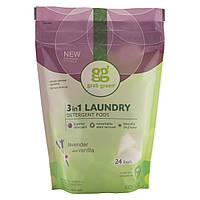 Стиральный порошок три в одном, (3-in-1 Laundry Detergent Pods), GrabGreen, 432 г