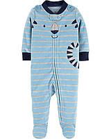 """Флисовый человечек для мальчика Carter's, голубой """"Тигр"""""""