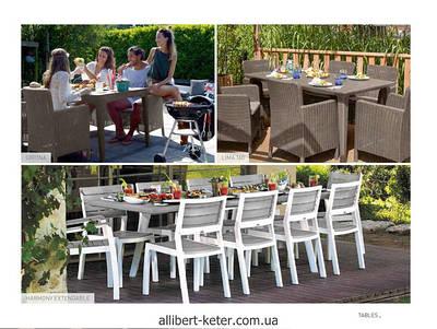 Столы садовые, уличные из искусственного ротанга и пластика бренду Allibert Keter Curver