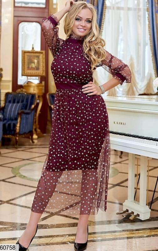 Вечернее платье больших размеров бордо