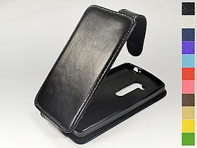 Откидной чехол из натуральной кожи для LG L Fino Dual D295