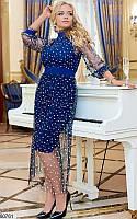 Вечернее новогоднее платье больших размеров синее