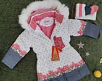 Классное детское зимнее пальто Kiko+шарфик   р. 104-134, фото 1