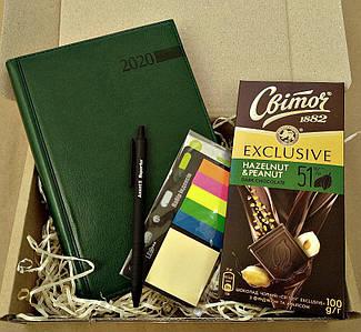 Подарунковий набір зелений щоденник 2020 індекси пластикові шоколад