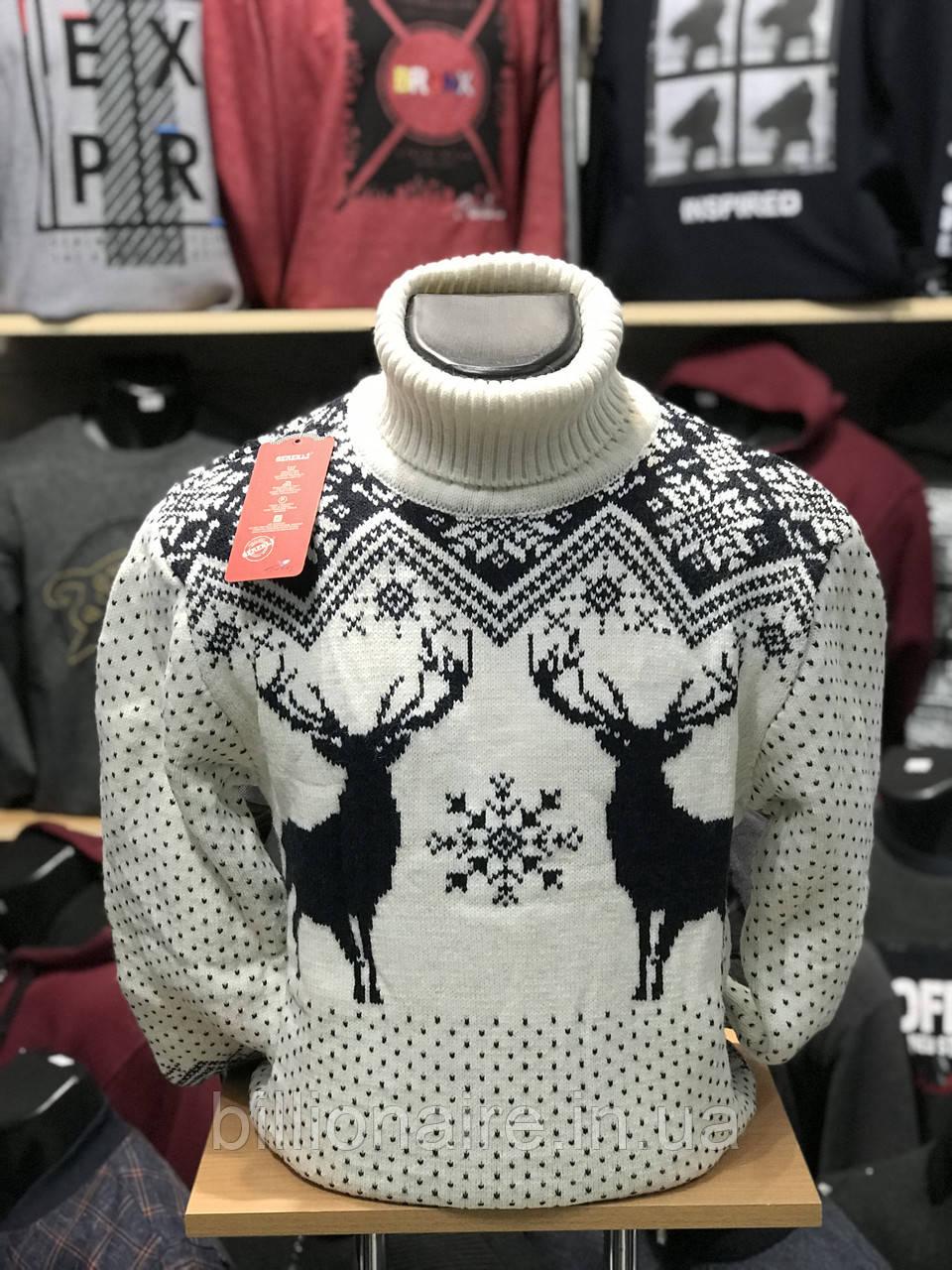 Стильний теплий новорічний чоловічий гольфз оленями