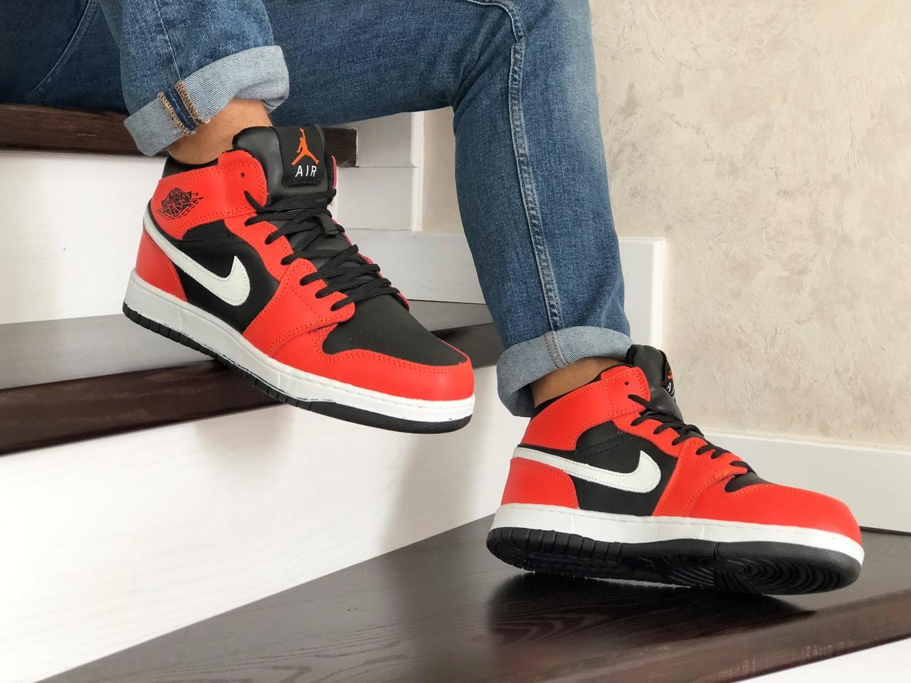 Мужские зимние кроссовки Nike Air Jordan 1 Retro (оранжево-белые)