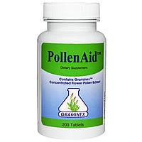 Graminex, PollenAid, экстракт цветочной пыльцы, 200 таблеток