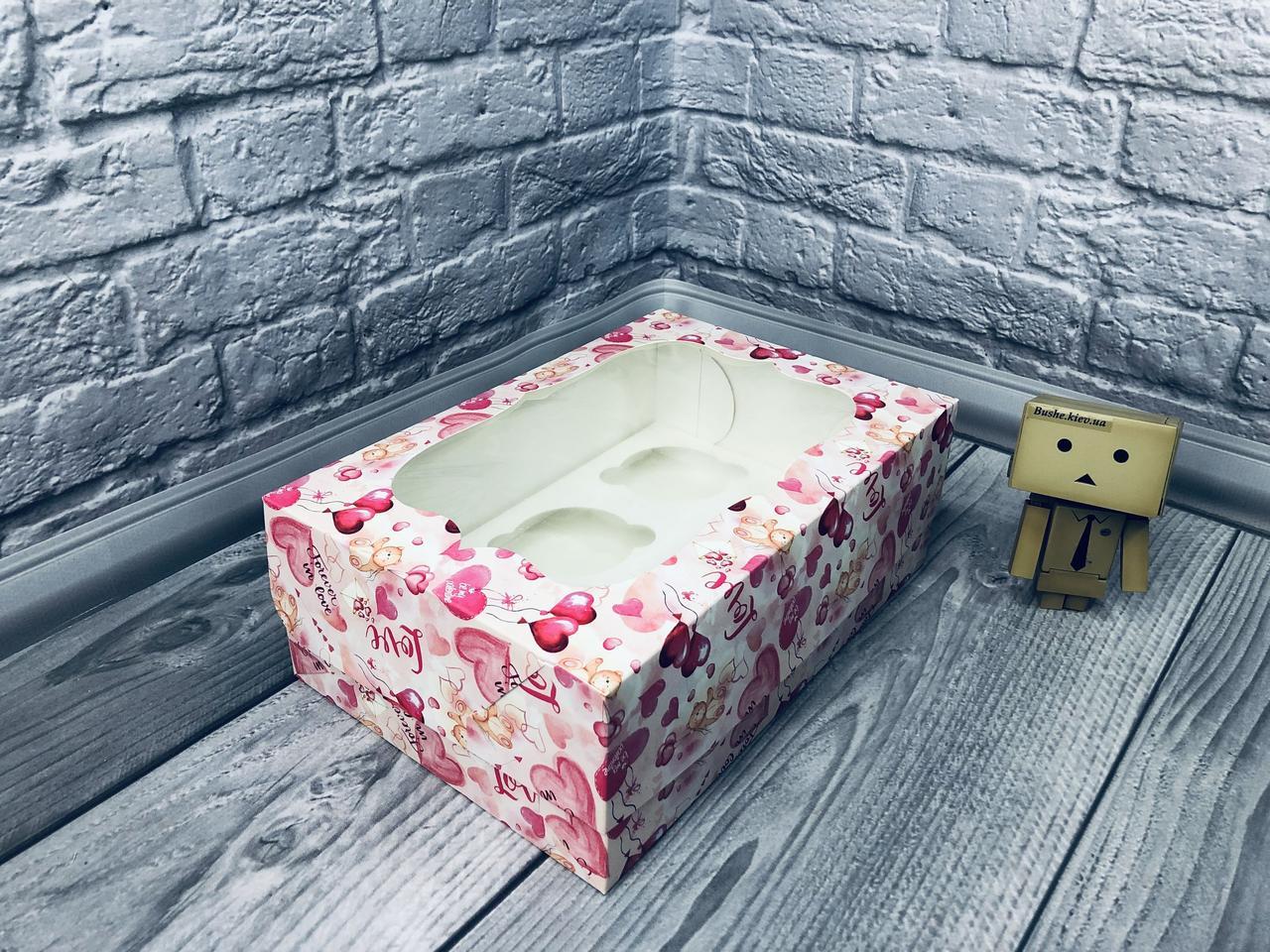 *10 шт* / Коробка для 6-ти кексов / 250х170х90 мм / печать-Мишарики / окно-обычн  / лк
