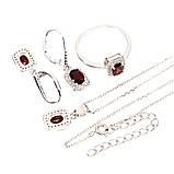 Шикарный серебряный комплект: кольцо (размер кольца 16), серьги и кулон с камнем Гранат Мозамбик (Бразилия)., фото 3