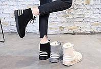 Спортивные зимние ботинки с полосками