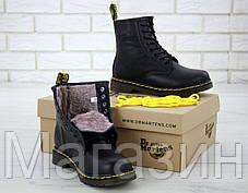 Мужские зимние ботинки Dr. Martens 1460 Winter Fur Logo Black Доктор Мартинс С МЕХОМ черные, фото 2