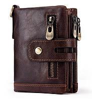 Мужское кожаное портмоне Kavis со съемными карманами кофейное