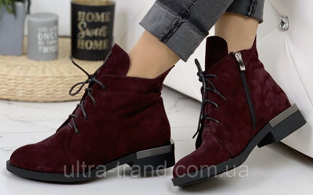 Vzuta! демисезонные кожаные женские полу ботинки на шнуровке со змейкой квадратный каблук