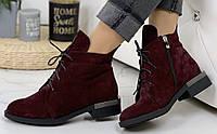 Vzuta! демисезонные кожаные женские полу ботинки на шнуровке со змейкой квадратный каблук, фото 1