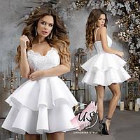 Женское кокетливое однотонное коктейльное платье в стиле бебидолл. Цвета!, фото 1