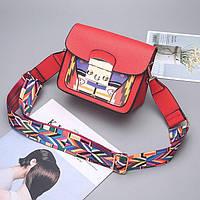 Маленькая красная сумочка с цветным плечевым ремешком. Уценка, фото 1