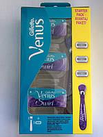 Набор Без Картонной Упаковки для бритья женский Gillette Venus 5 Swirl ручка +3 картриджа Без Картонной Упак!!, фото 1