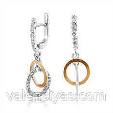 Серебряные серьги-подвески с золотыми вставками