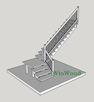 """Лестница из натурального дерева из Дуба """"L""""-образная с площадкой"""