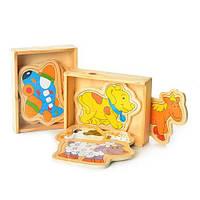 """Деревянная игрушка """"Пазлы"""" MD0564, 2 вида (животные, транспорт) по 4 шт в кор-ке"""