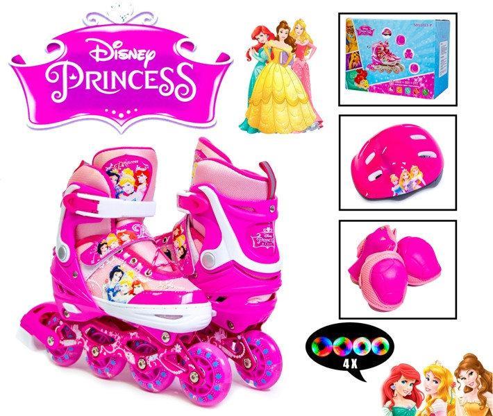 Комплект Disney Принцессы (ролики, защита, детский шлем), (29-33) (34-37) светящиеся 4 колеса