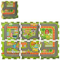 Детский развивающий коврик мазайка-пазл город EVA для детей, игровых центров, 6 детали 31*31см. 9мм.