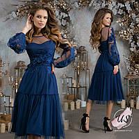 Романтичное  вечернее платье миди с длинным рукавом., фото 1