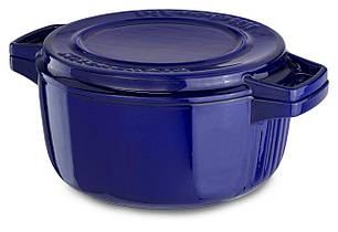 Кастрюля с крышкой-гриль, чугунная KitchenAid CPI60CRFUCast Iron, объем 3,8 л, диаметр 24см, цвет темно синий
