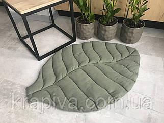 Коврик листик ЛЁН интерьерный, покрывало-одеяло, игровой коврик, декоративный для ванной и спальни