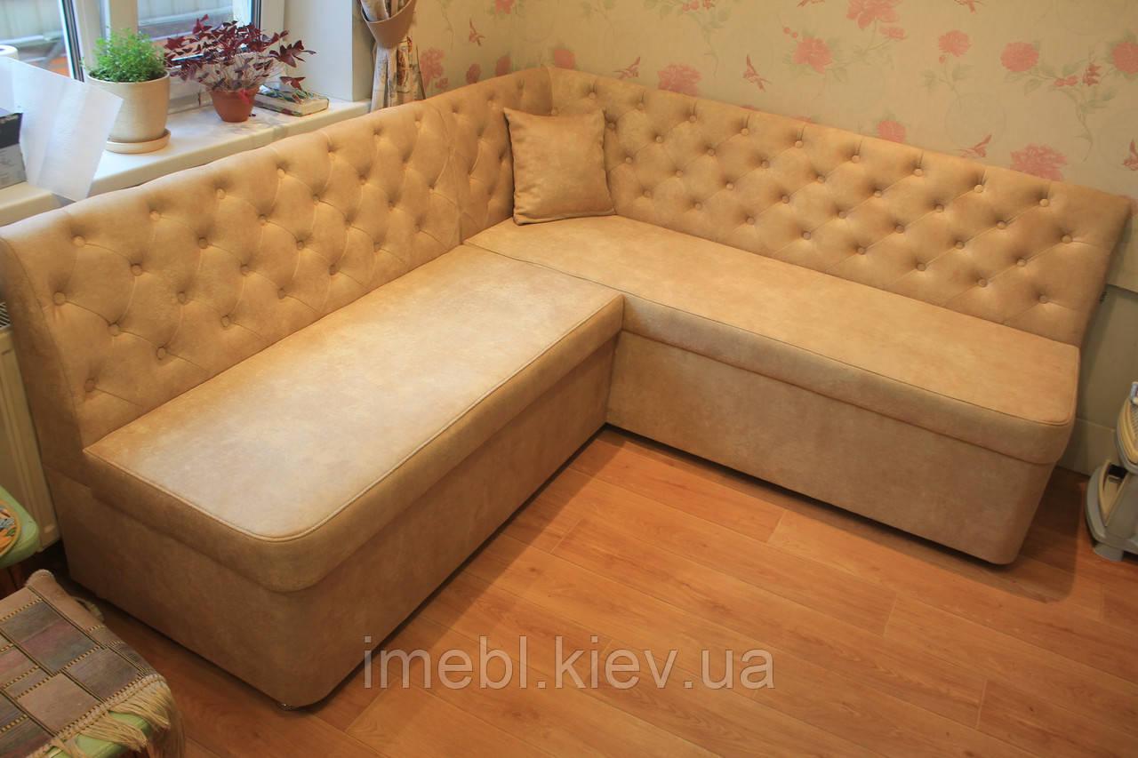 Кухонный угловой диван с большими ящиками (Топлёное молоко)