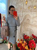 Зимние вязаное платье с бусинами