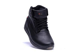 Мужские зимние кожаные ботинки в стиле FILA Soft Men Black, фото 3