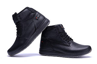 Мужские зимние кожаные ботинки в стиле FILA Soft Men Black, фото 2