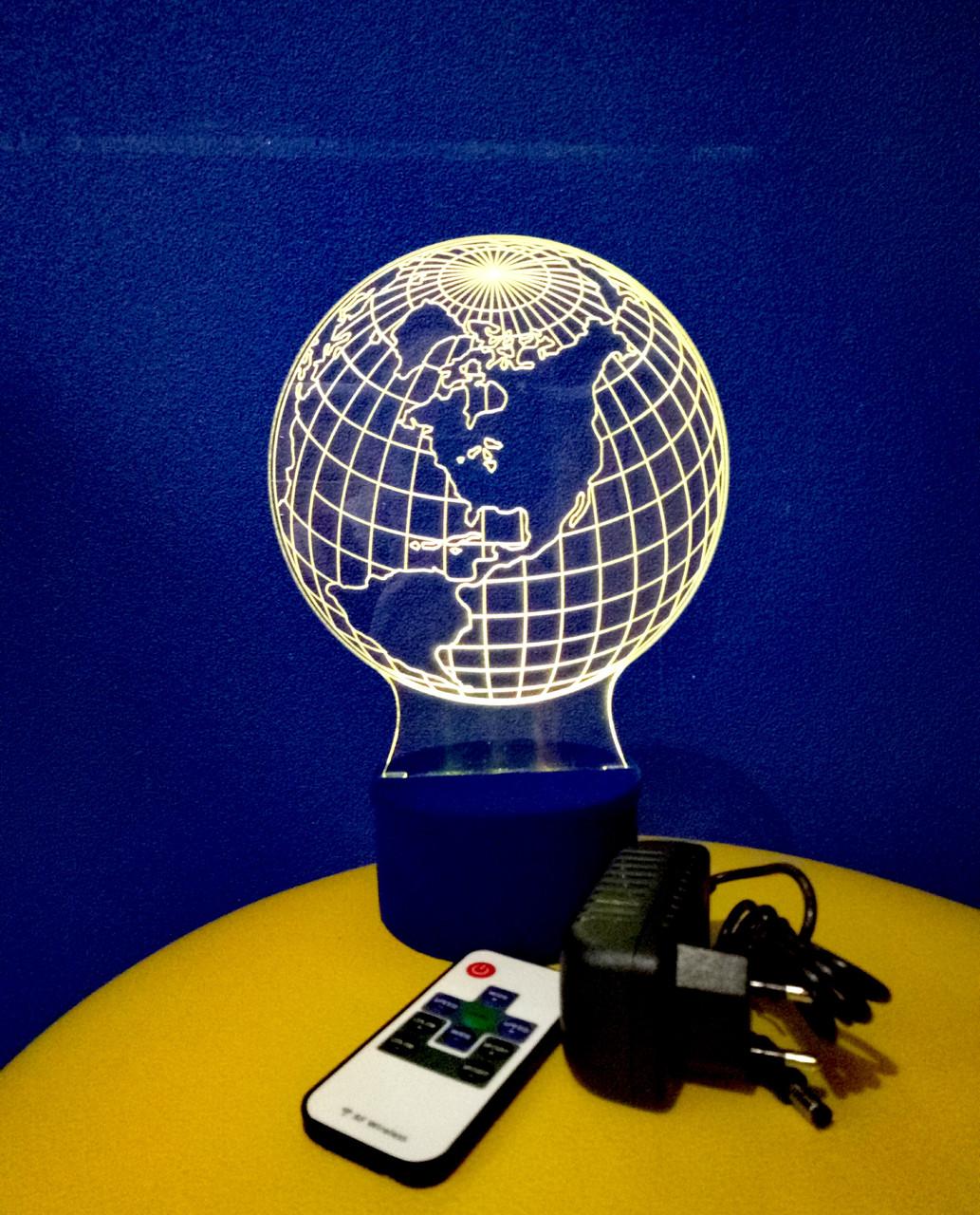 3d-світильник Глобус, 3д-нічник, кілька підсвічувань (на пульті)