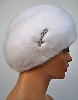 Женский норковый классический Берет с украшением Белый