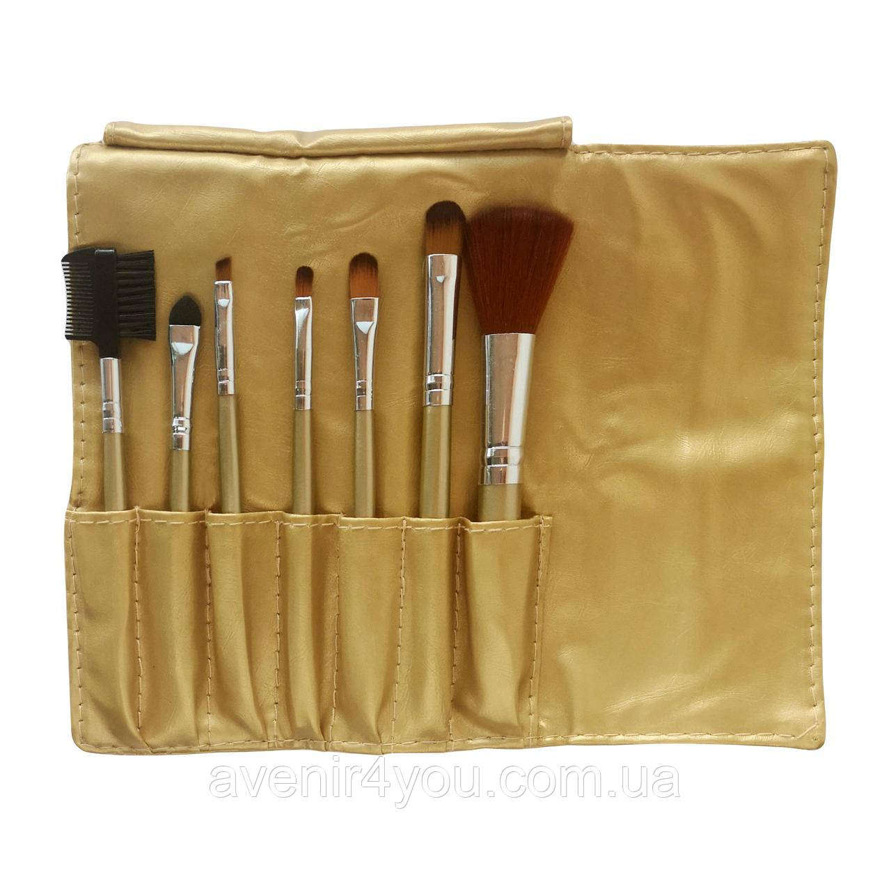 Набір кистей для макіяжу 7 шт в чохлі Золотий