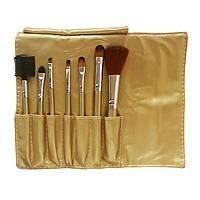 Набір кистей для макіяжу 7 шт в чохлі Золотий, фото 1