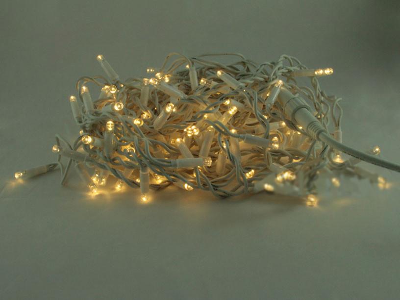 """Уличная Cветодиодная гирлянда Нить """"String"""" 10 метров Желтая, 100 LED белый провод каучук пвх"""