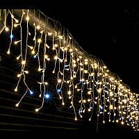 Гирлянда Bonita Бахрома Уличная 120 лампочек Белый Теплый, 300х60 см, черный провод, переходник (1-86)