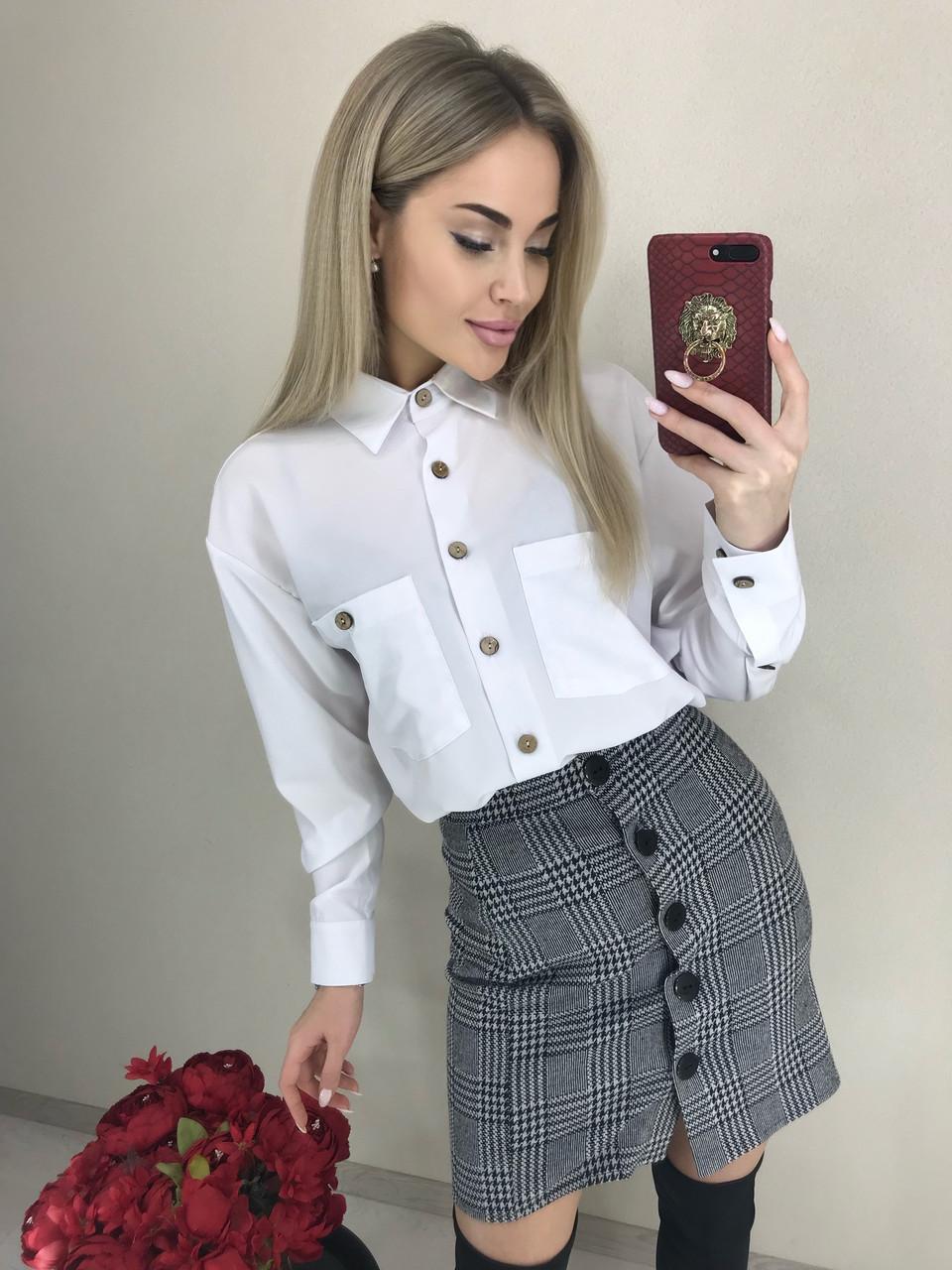 Женская блуза с длинным рукавом на темных пуговицах /белый, 42-46, ft-458/
