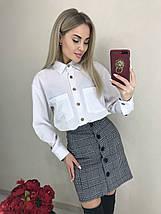 Женская блуза с длинным рукавом на темных пуговицах /белый, 42-46, ft-458/, фото 3