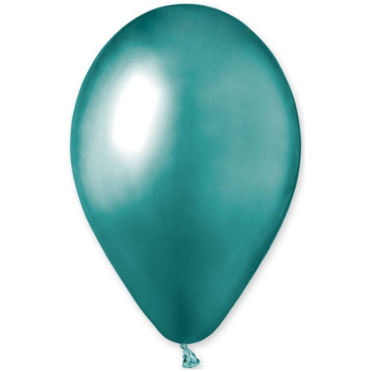 """Латексные шары круглые без рисунка 13"""" хром зеленый ShinyGreen"""