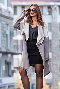 В'язаний кардиган з лампасами FashionWeek (льон, капучино)
