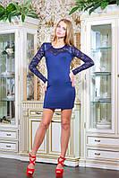 Эффектное женское платье. Рукава, кокетка и спинка выполнены из гипюра, на кокетке - вставки из эко-кожи. Спин