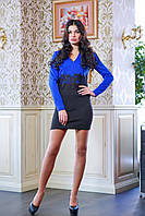 Эксклюзивное женское платье с декором в виде широкого шитого кружева на талии. V-образный вырез горловины, дли