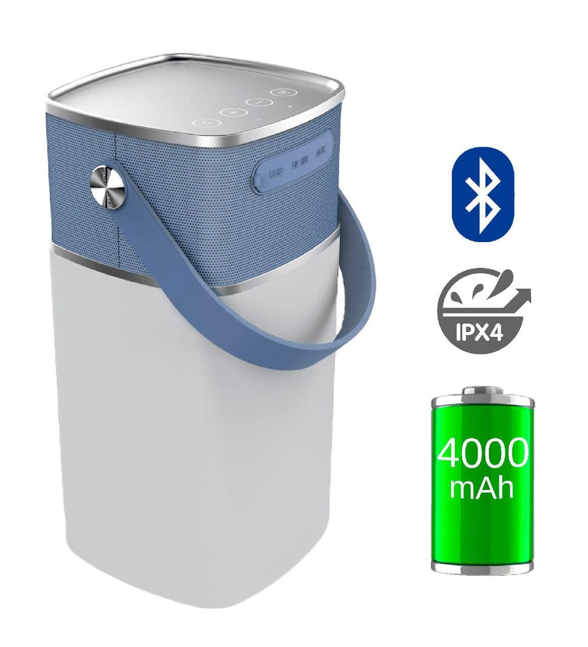 Портативная колонка c подсветкой NOUS H4 с Power Bank Silver