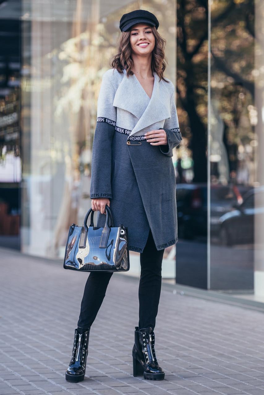 В'язаний кардиган з лампасами FashionWeek (сірий, графіт)