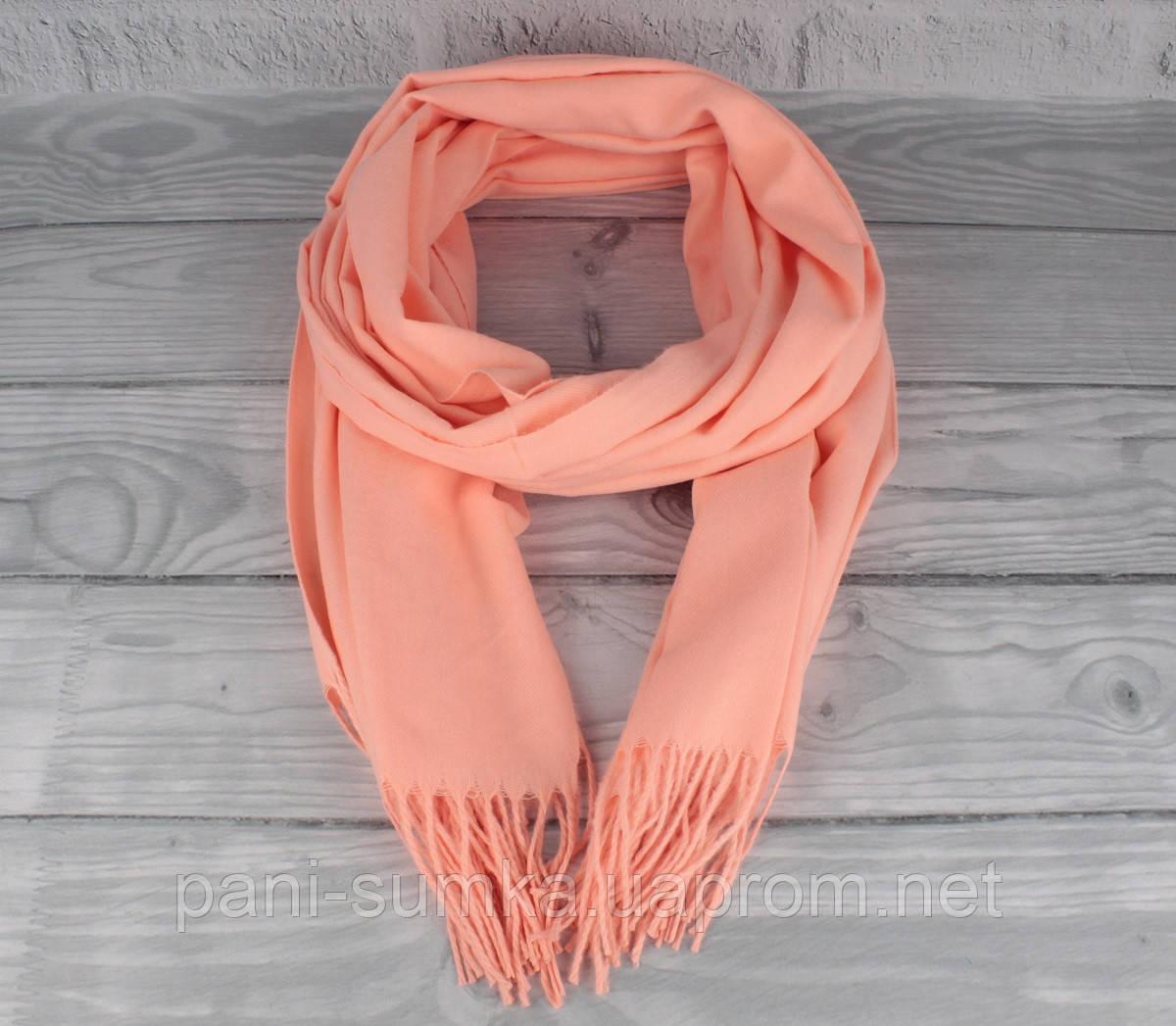 Нежный кашемировый шарф, палантин Cashmere 7480-1 оранжевый, расцветки