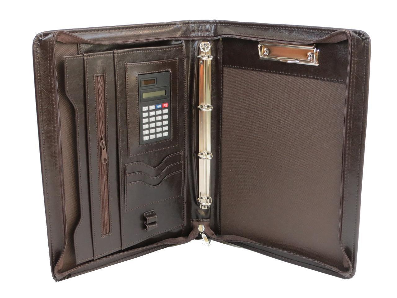 Папка деловая с калькулятором из эко кожи JPB, AK-11N коричневая